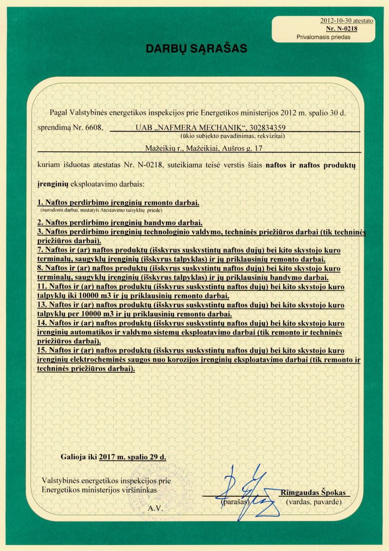 ATESTASTAS: Eksplotuoti nafotos ir naftos produktų įrenginius (puslapis 2 iš 2)
