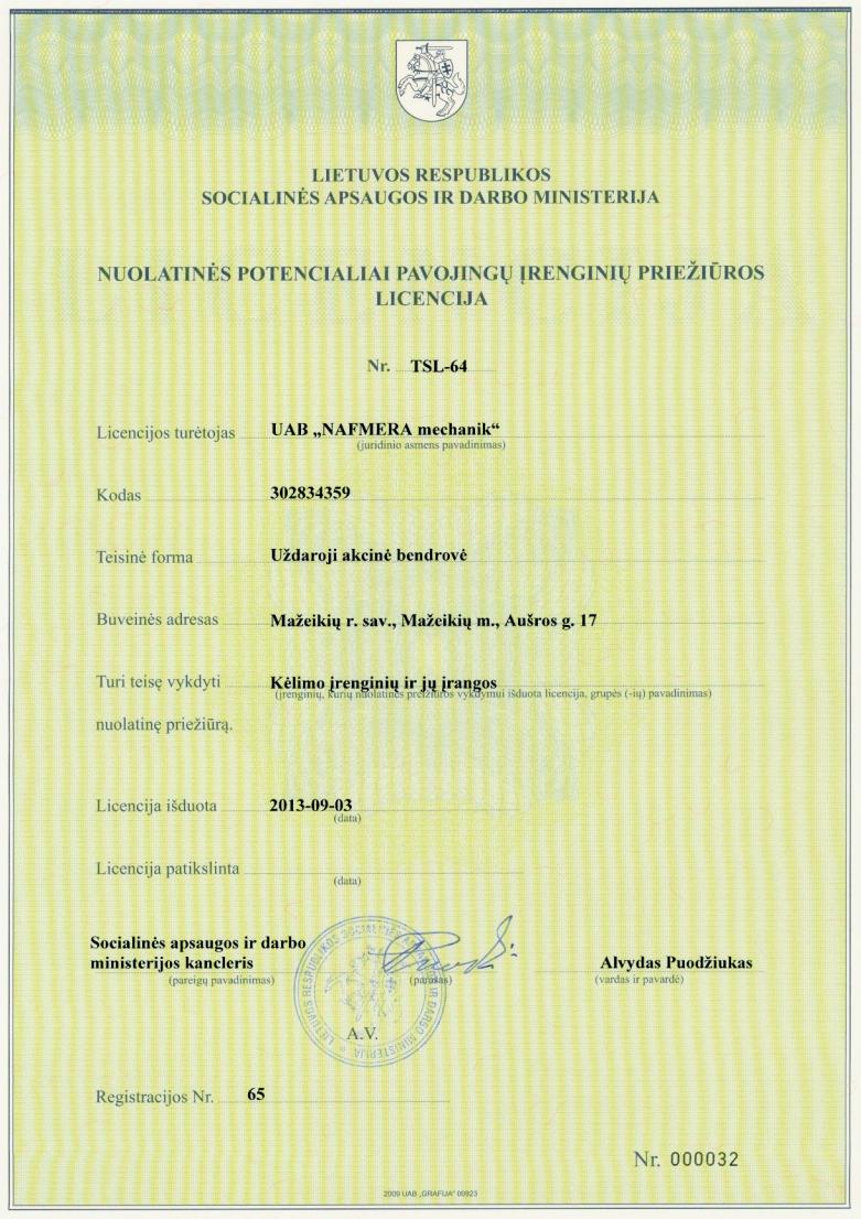 Nuolatinės potencialiai pavojingų įrenginių priežiūros licencija